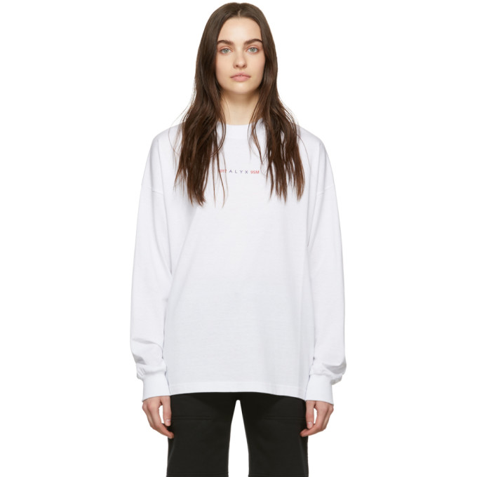 1017 ALYX 9SM White Logo Long Sleeve T Shirt 191776F11000504