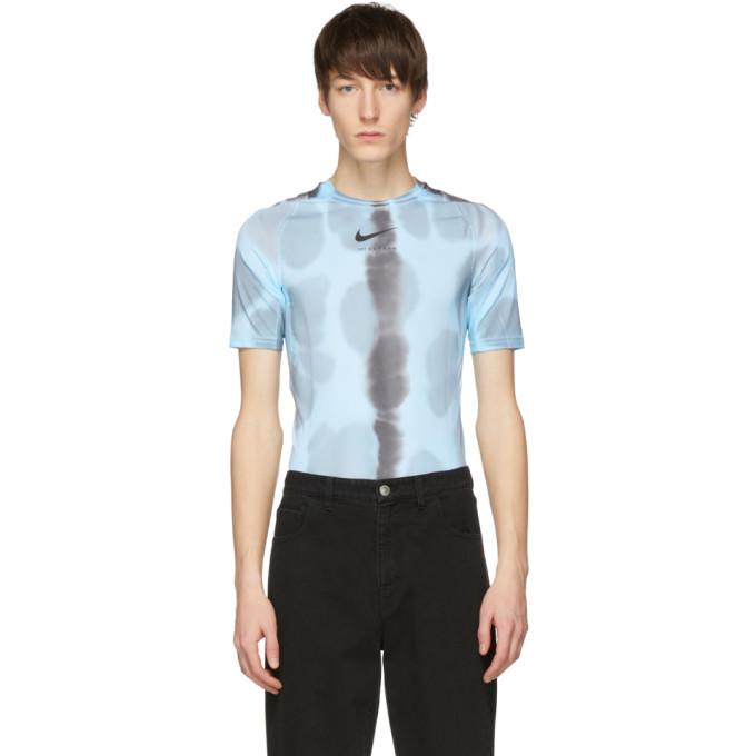 1017 ALYX 9SM Blue Nike Edition Camouflage Logo Sponge T Shirt 191776M21300207