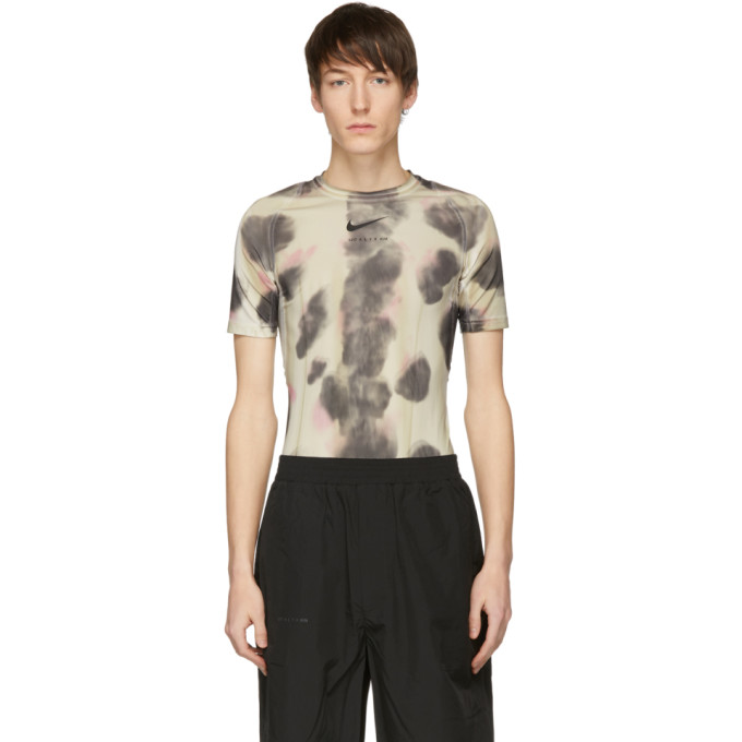 1017 ALYX 9SM Tan Nike Edition Camouflage Logo Sponge T Shirt 191776M21300704