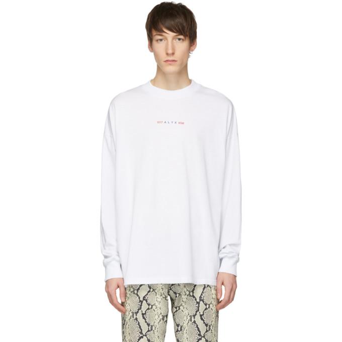 1017 ALYX 9SM White Logo Long Sleeve T Shirt 191776M21301806