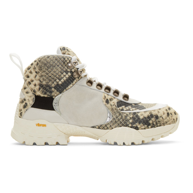1017 ALYX 9SM Off White and Black Snake Hiking Boots 191776M25500101