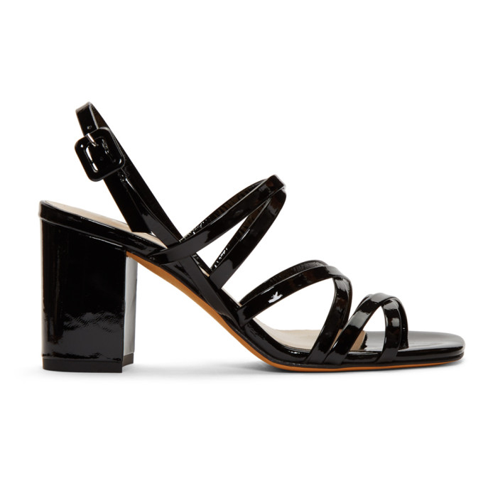 MARYAM NASSIR ZADEH Maryam Nassir Zadeh Black Ira 85 Strappy Patent Leather Sandals in 123 Blackcr