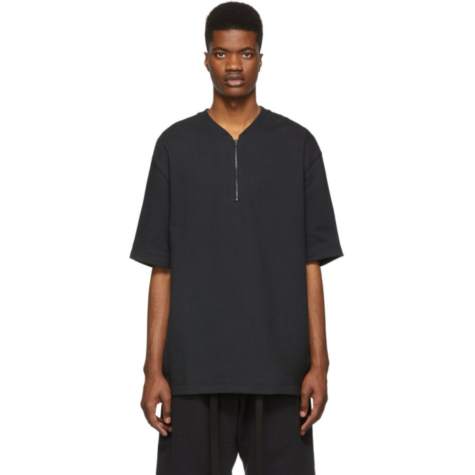 Fear Of God T-shirts FEAR OF GOD BLACK HALF-ZIP T-SHIRT