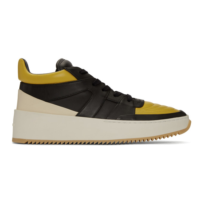 Fear of God Baskets mi-montantes jaunes et noires Basketball