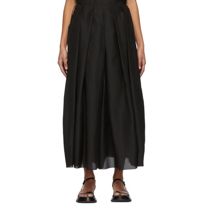 Sara Lanzi Pantalon ample en soie noir