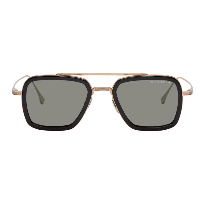 Dita Black & Gold Flight.006 Aviator Sunglasses