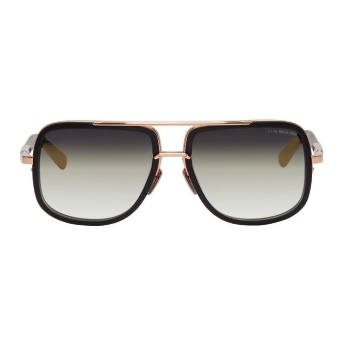 Image of Dita Black & Gold Mach-One Sunglasses