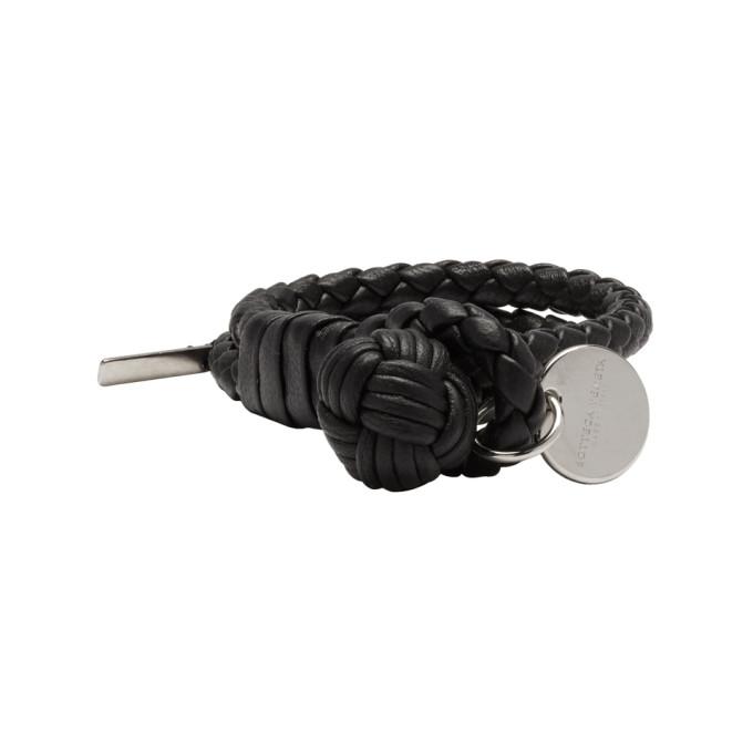 Bottega Veneta Black Intrecciato Double Knot Bracelet