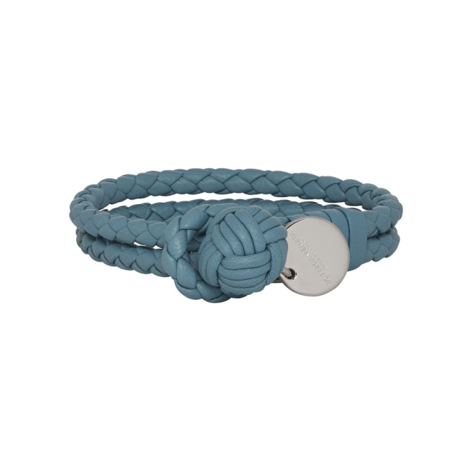 Bottega Veneta Blue Intrecciato Double Knot Bracelet