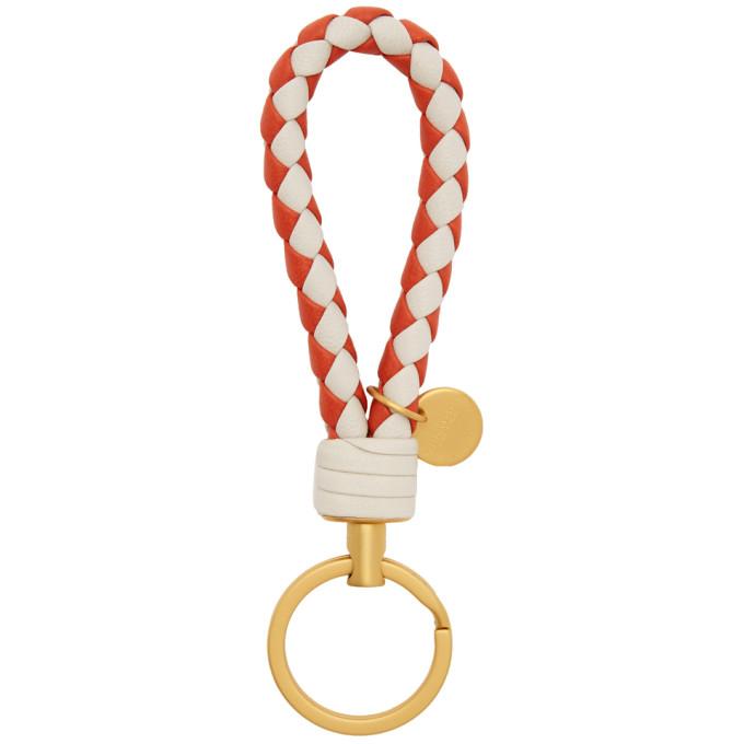 Image of Bottega Veneta Beige & Red Intrecciato Loop Keychain