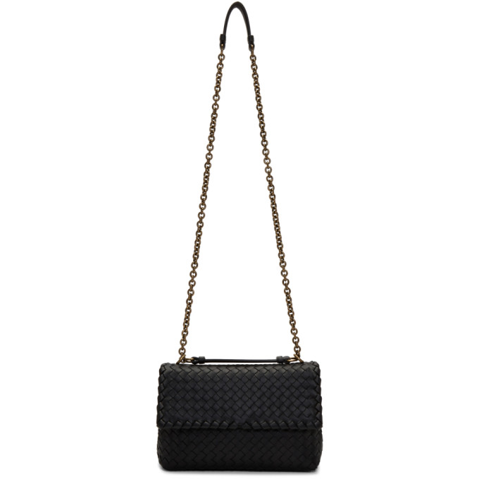 Bottega Veneta Black Small Intrecciato Olimpia Chain Bag