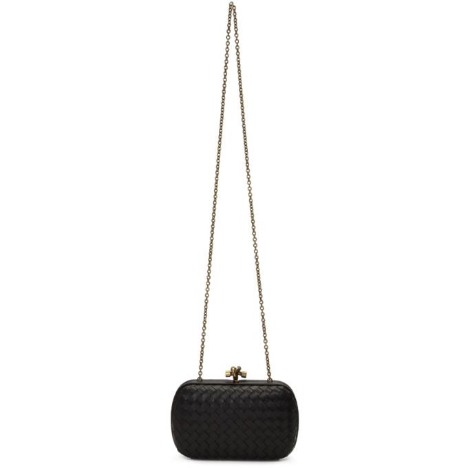 Bottega Veneta Black Intrecciato Chain Knot Clutch