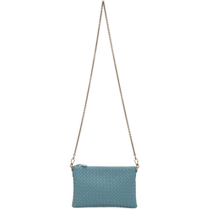 Bottega Veneta Blue Intrecciato Billeto Chain Bag