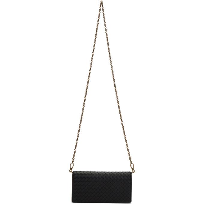 Bottega Veneta Black Intrecciato Chain Wallet Bag