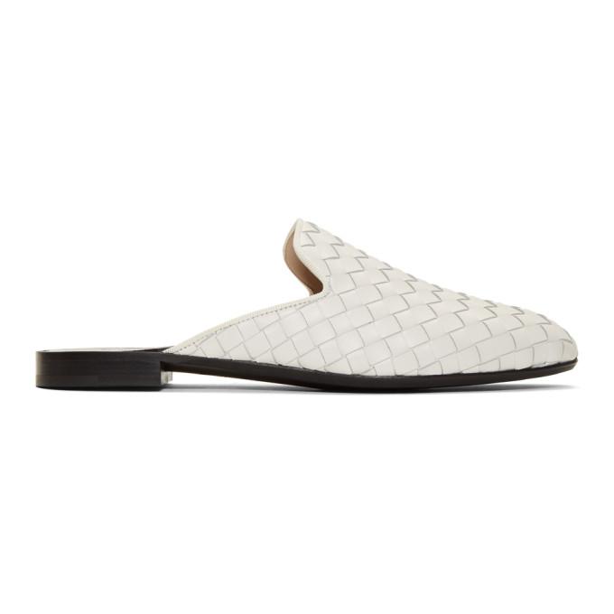 Bottega Veneta White Intrecciato Slippers