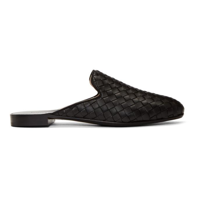 Bottega Veneta Black Intrecciato Slippers