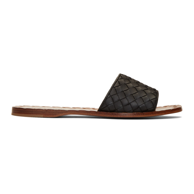 Bottega Veneta Black Intrecciato Sandals