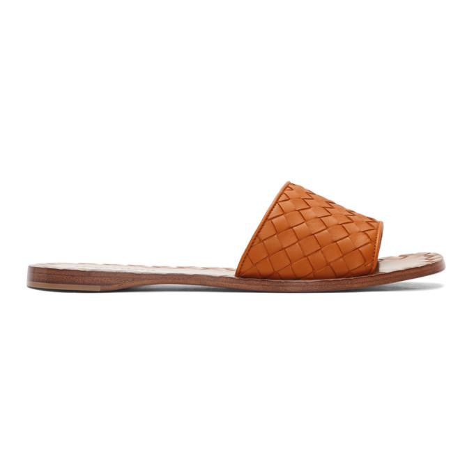 Bottega Veneta Orange Intrecciato Sandals