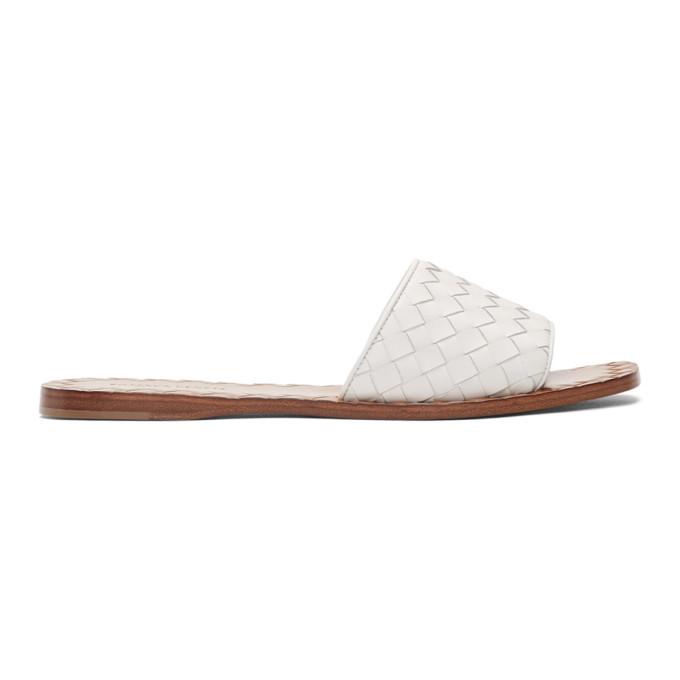 Bottega Veneta White Intrecciato Sandals