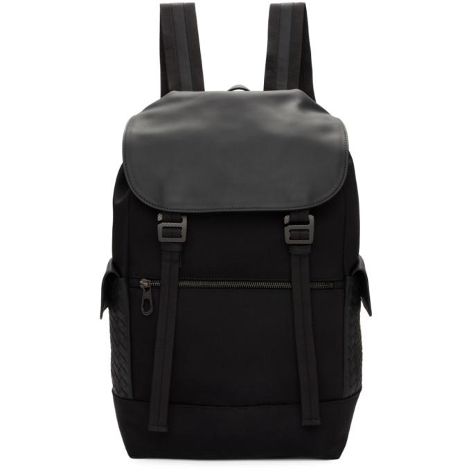 Image of Bottega Veneta Black Hi-Tech Canvas Sassolungo Backpack
