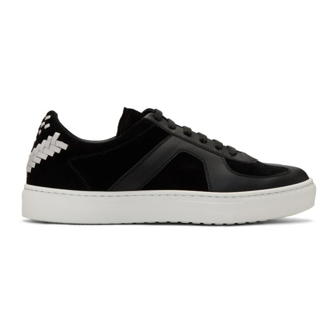Image of Bottega Veneta Black Calf & Suede Sneakers