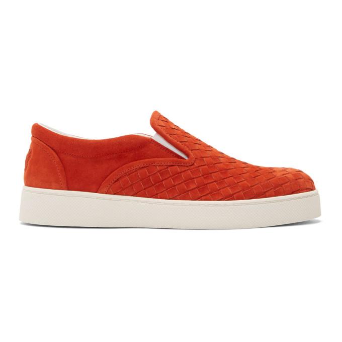 Bottega Veneta Red Suede Intrecciato Dodger Slip-On Sneakers