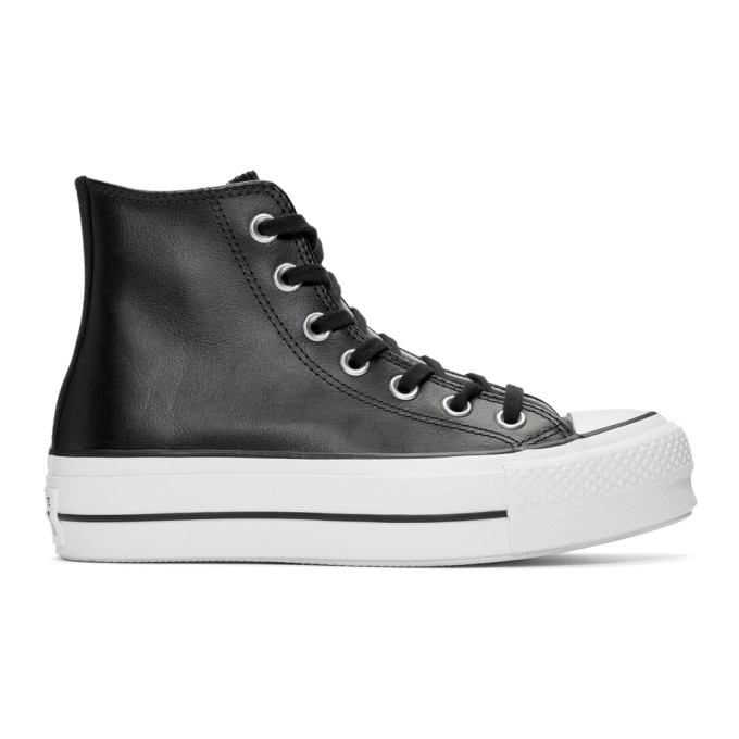 Image of Converse Black Leather Chuck Taylor All Star Lift Clean Sneakers