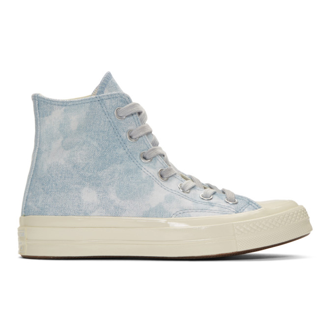 Image of Converse Blue Tie Dye Chuck 70 High Top Sneakers