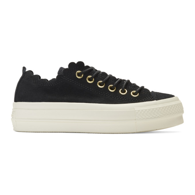 Image of Converse Black Suede Chuck Taylor All Star Lift Frilly Thrills Sneakers