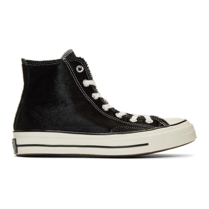 Image of Converse Black Pony Hair Chuck 70 High Sneakers
