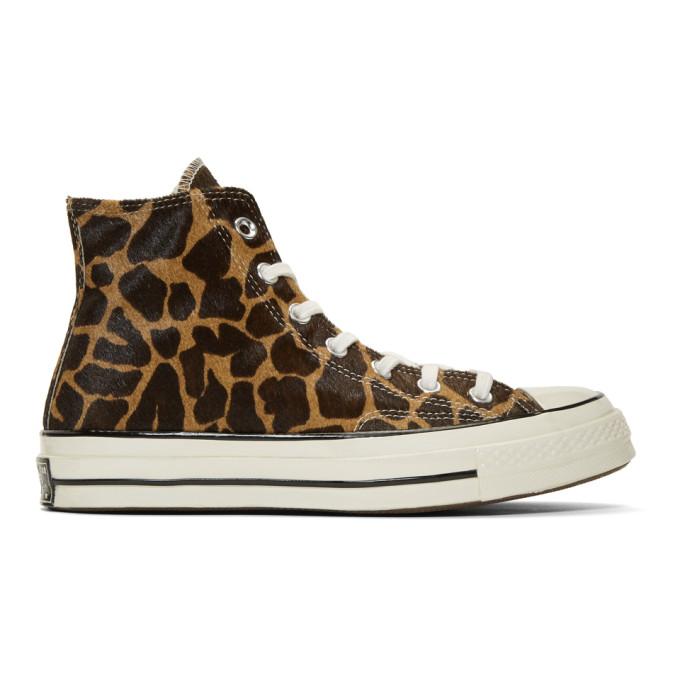 Image of Converse Brown & Beige Giraffe Pony Hair Chuck 70 High Sneakers