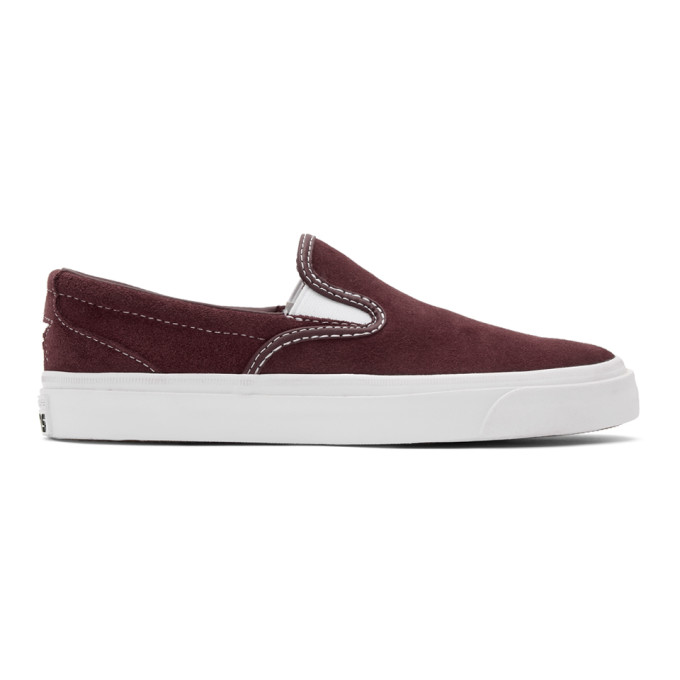 Image of Converse Burgundy Suede One Star CC Slip-On Sneakers