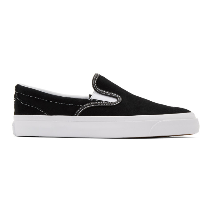 Image of Converse Black Suede One Star CC Slip-On Sneakers
