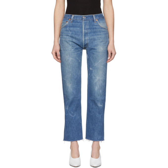 High Waist Stovepipe Jeans in Indigo