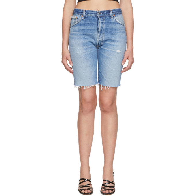 Re/Done Indigo Levi's Edition Denim 'The Long' Shorts
