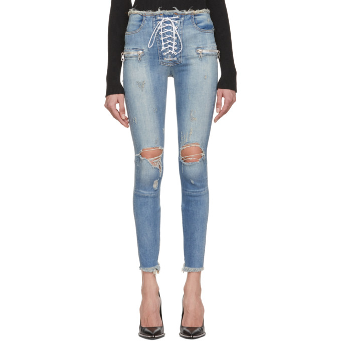 Ben Taverniti Unravel Project Jeans UNRAVEL INDIGO LACE-UP SKINNY JEANS