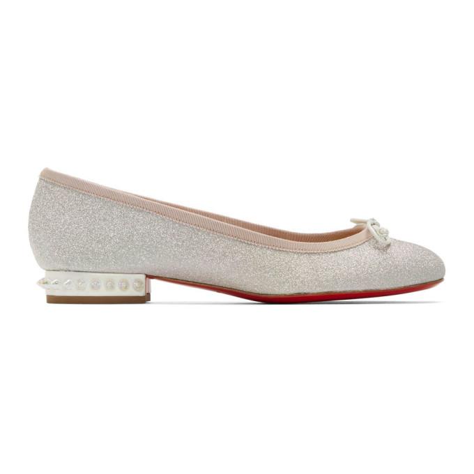 Buy Christian Louboutin Silver Glitter La Massine Ballerina Flats online