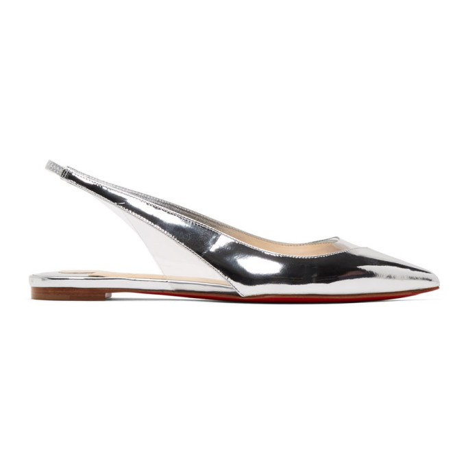 CHRISTIAN LOUBOUTIN | Christian Louboutin Silver And Transparent V Dec Ballerina Flats | Goxip