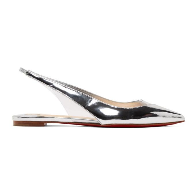 Buy Christian Louboutin Silver and Transparent V Dec Ballerina Flats online
