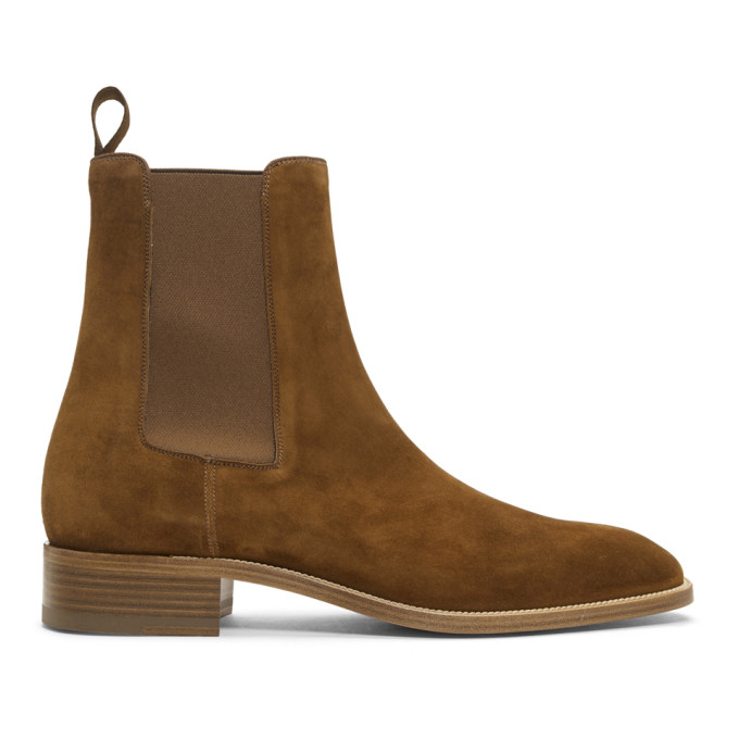 Christian Louboutin Brown Suede Samson Chelsea Boots