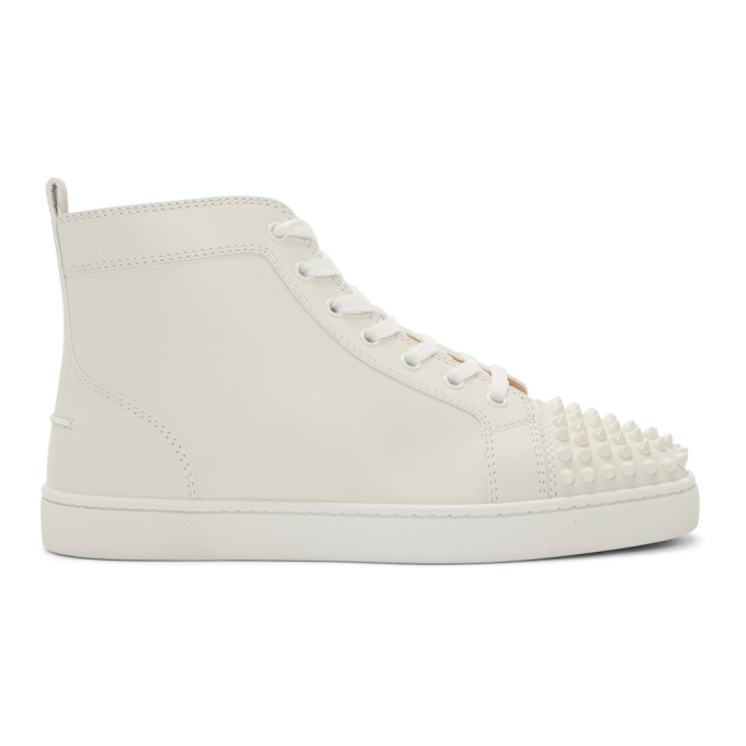 Christian Louboutin White Lou Spikes High-Top Sneakers