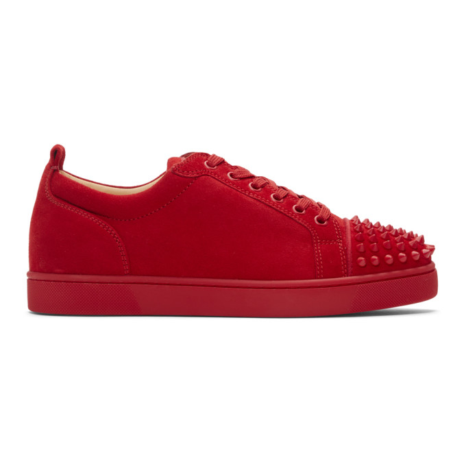 f7b9524b18a Christian Louboutin Louis Junior Spikes Flat Suede Sneakers In R264 ...