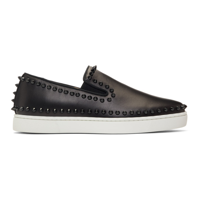 fa08ad52fce Boat Stud-Embellished Leather Slip-On Trainers in Black