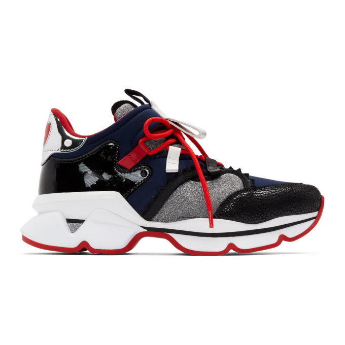 CHRISTIAN LOUBOUTIN | Christian Louboutin Black And Navy Red-Runner Flat Sneakers | Goxip