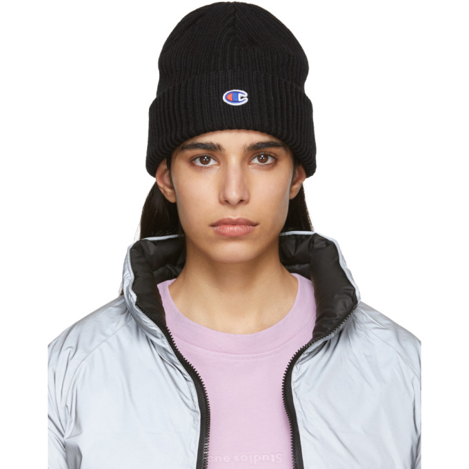 Image of Champion Reverse Weave Black Logo Beanie