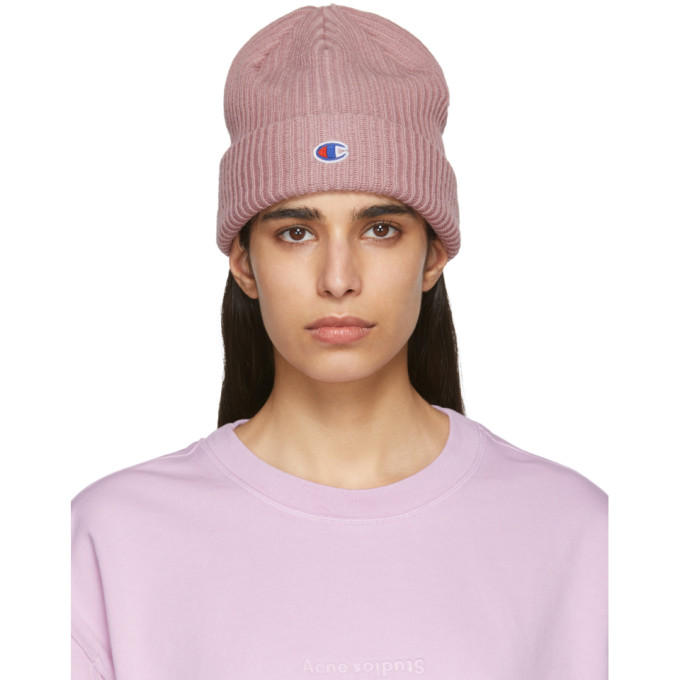 Image of Champion Reverse Weave Pink Logo Beanie