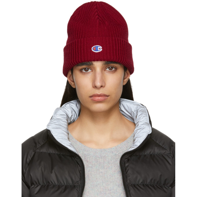 Image of Champion Reverse Weave Red Logo Beanie