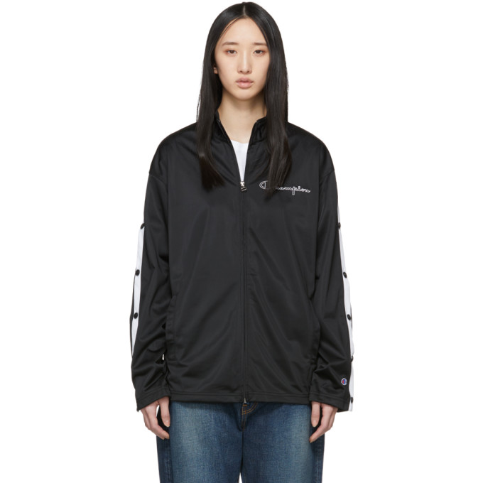 Image of Champion Reverse Weave Black Button Sleeve Zip-Up Jacket