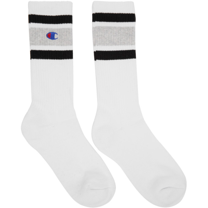 Image of Champion Reverse Weave White & Grey Logo Socks