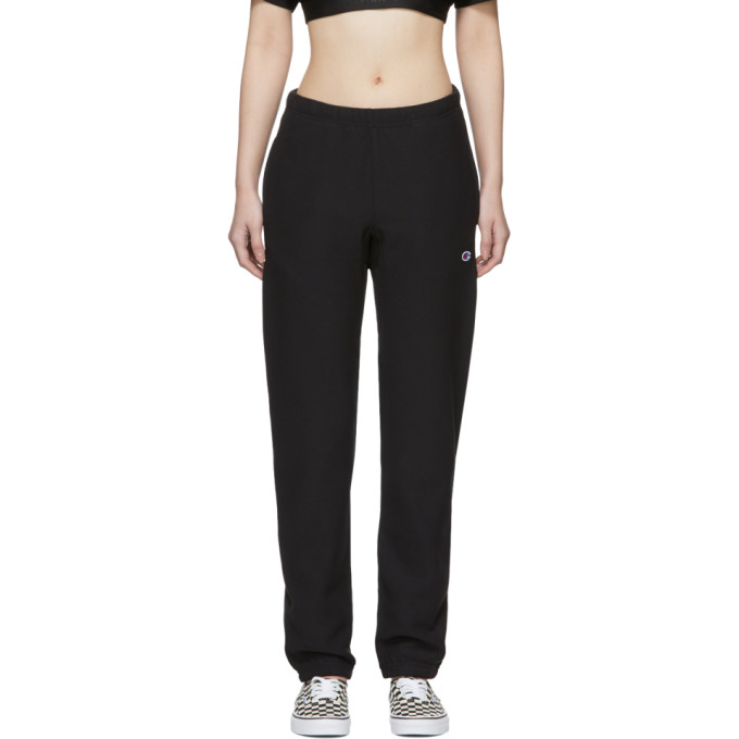 Image of Champion Reverse Weave Black Elastic Lounge Pants